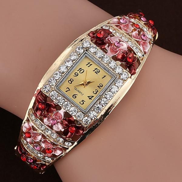 Mance New Fashion Brand Luxury Women Quartz Luxury Crystal Flower Bracelet Watch Montre Femme