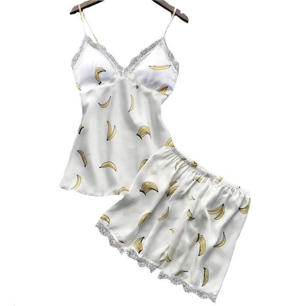 Sexy Women Sleepwear Summer Print Pyjamas Suit Satin 2Piece Cami&Shorts Sleep Set Lace Trim Nightwear Negligee Pajamas M L XL XL