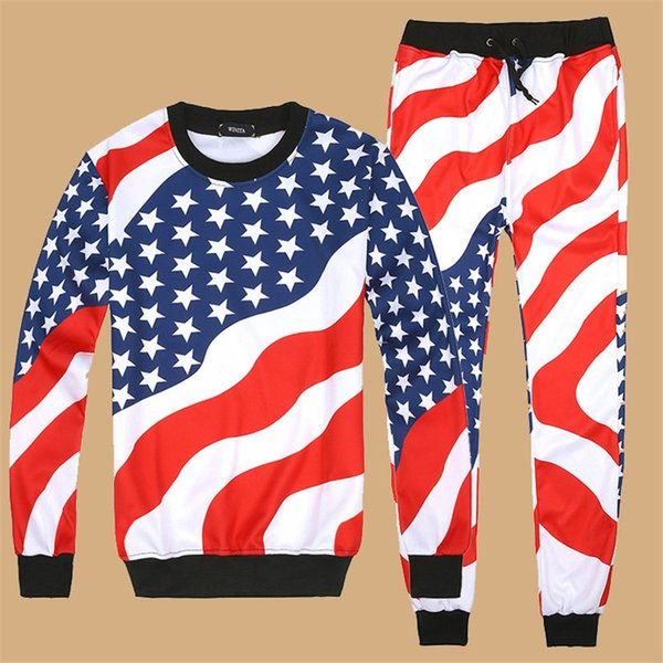 Designer-Herren Trainingsanzug New Fashion American Flag Print Sport Hip Hop Luxus Sweatshirts Jogger Hosen Trainingsanzug Jogging Hoodie laufen