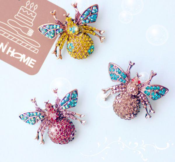 Date Animaux Naturels Bijoux Strass Broches Broches Abeille Hibou Insectes Broches Pour Femmes Costume Broche Épingles Cadeau