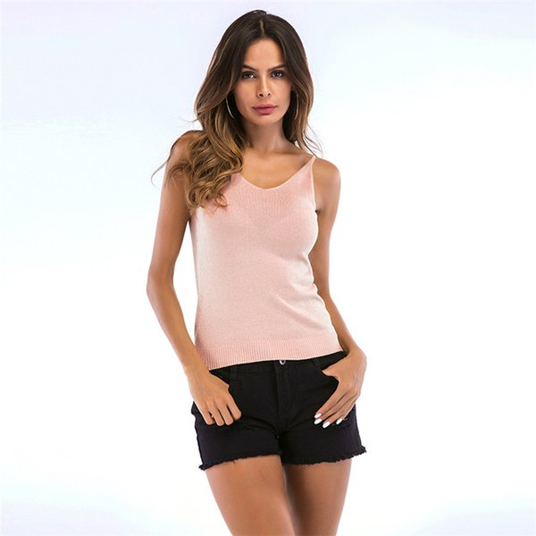 Free Shipping 5 Colors Summer Sexy Women Plain Camisole V Neck Silm Vest Camis Tank Top Tee