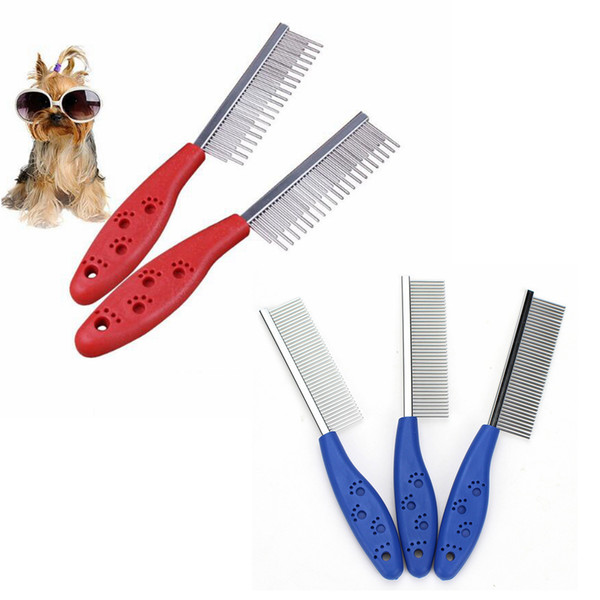 Lovely Footprint Pet Cosmetology Comb Brush Portable Stainless Steel Dog Cat Supplies Grooming Combing With Antiskid Handle 60pcs AAA765
