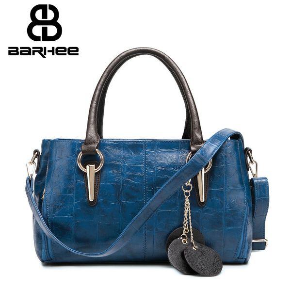 Luxury Retro Women Handbag Famous Brand Embossed Pattern Women Shoulder Bags Large Boston Hand Bag Blue Beige Black PU Leather