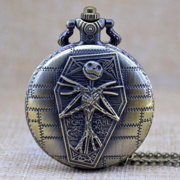 Tim Burton's The Nightmare Before Christmas Quartz Pocket Watch Analog Pendant Necklace Mens Womens Christmas Xmas Gift Chain