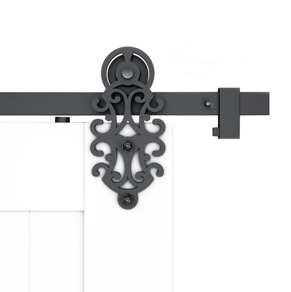 top popular DIYHD 5FT-10FT Ornate Cut Roller Black Iron Sliding Barn Door Hardware For Single Double Barn Door 2021