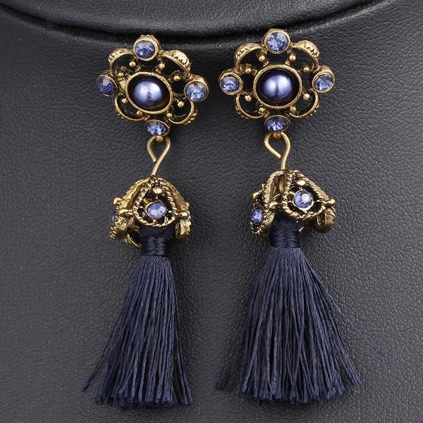 2019 Frühling Nationalen Stil Rückkehr Zu Den Alten Handarbeit Kristall Lange Quaste Ohrringe Für Frauen Marke Neue Heiße Verkauf Mode