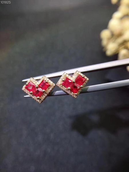 natural red ruby gem stud earrings Natural gemstone earrings Elegant heart square S925 silver girl women party gift jewelry