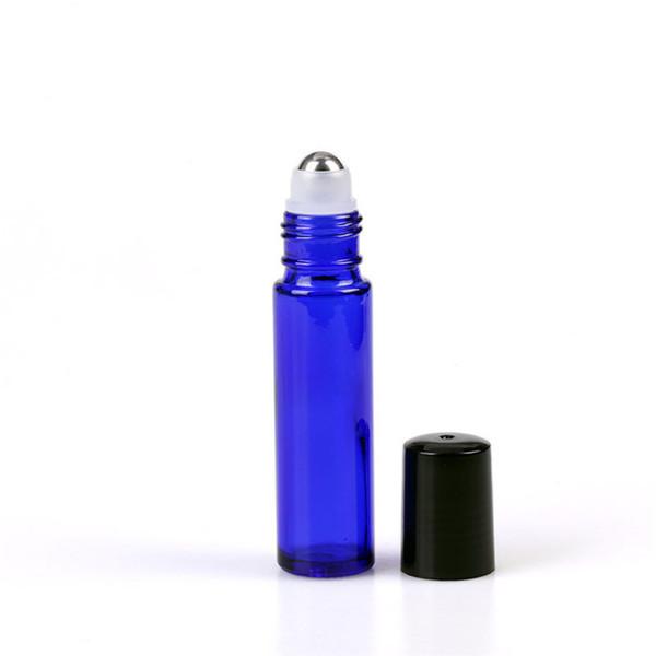 DHL Libre 200 unids / lote Cobalto Azul Rollo en Botellas Botellas de Vidrio de Fragancia 10 ML Aceites Esenciales Bola de Rodillo de Cristal Botella de Aromaterapia