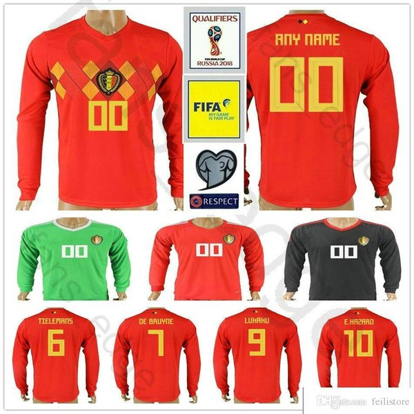 42afe0a3e4f 2018 World Cup Belgium Long Sleeve Soccer Jerseys Home Red LUKAKU FELLAINI  E.HAZARD KOMPANY
