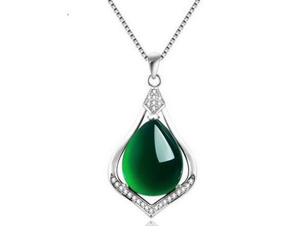 Echt 925 Sterling Silber Natürliche Jade Link Ketten Anhänger Halsketten für Frauen Sterling-Silber-Schmuck Marke Ataullah SSN005