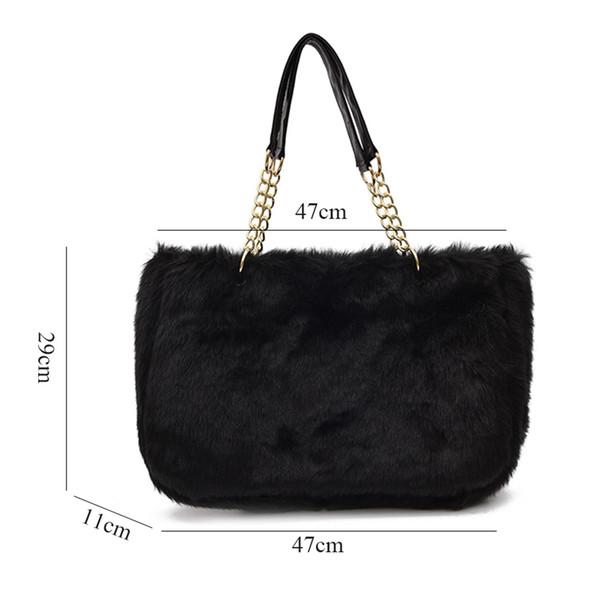 New Women Winter Plush Shoulder Chain Tote Bag Fashion Large Party Handbag Purse Leopard Solid Faux Fur High Capacity Pack 2018