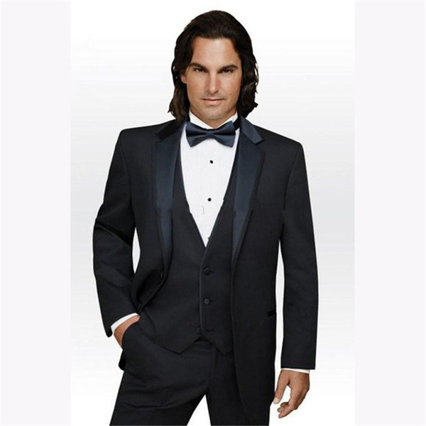 Brand Two Buttons Black Groom Tuxedos Notch Lapel Best Prom mens Suit Business wedding suits for men 2019( jacket+Pants+vest)