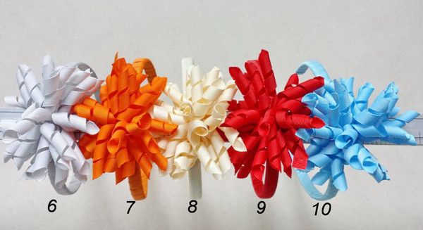 100pcs girl's Hair Sticks Hair hoop korker bows flowers plastic headbands baby curly ribbon corker hair band accessories headwear PD009