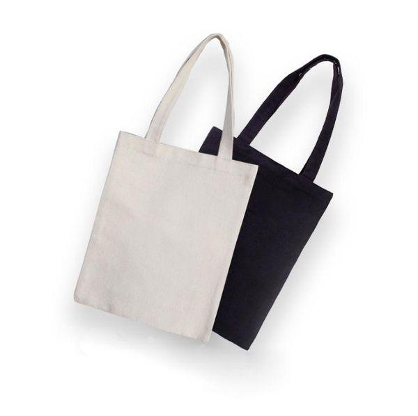 Preto / Branco Em Branco Padrão de Lona Sacos de Compras Eco Reutilizável Dobrável Bolsa de Ombro Bolsa Tote Algodão Sacola SN871
