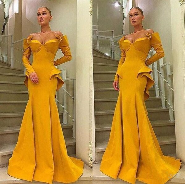Long Sleeves Sweetheart Sexy Dresses Evening Wear with Peplum Sweep Train Mermaid Prom Formal Celebrity Party Gowns