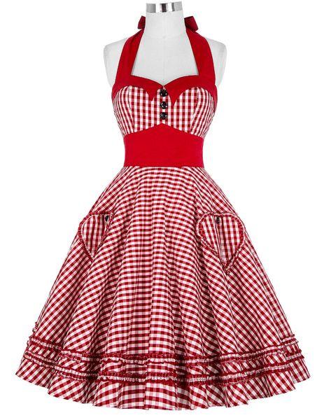 50's 60s Summer Style Femmes Robe Robes À Carreaux Vintage Rockabilly Pin Up Swing Vestidos Dress S-2XL