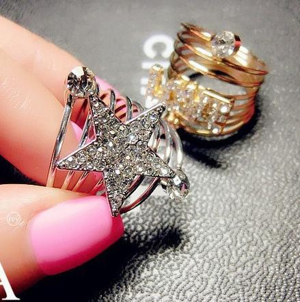 Day Han Mingxing Come From Stars Real You With Ring Silver Five-pointed Star Golden LOVE Spring Ring
