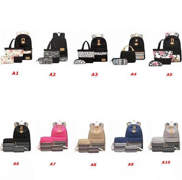 Unisex Stylish Canvas Printing Backpack Women School Bags for Teenage Girls Cute Black 3pcs Set Travel Backpacks Female Bagpack