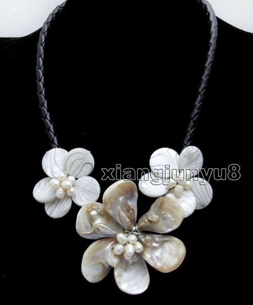 White Baroque Shell Flower with Pearl pendant Black Rope 18'' Necklace-nec6337