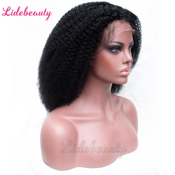 Unprocessed Full Lace Human Hair Wigs Indian Lace Front Wigs Baby Hair 130% Density Pre-Plucked Wigs Lace Frontal Afro Kinky Curly Hair