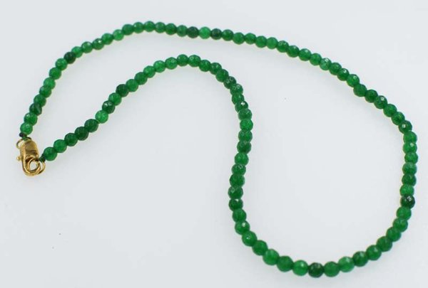 jade green round faceted necklace 4mm 16.5inch chocker FPPJ wholesale beads nature blue rabinbow