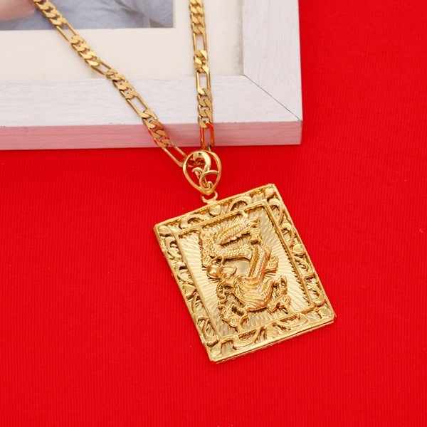 Commercio all'ingrosso di nuova moda reale 24K placcatura in oro pendente della collana uomo gioielli drago catena d'oro gioielli hiphop rock