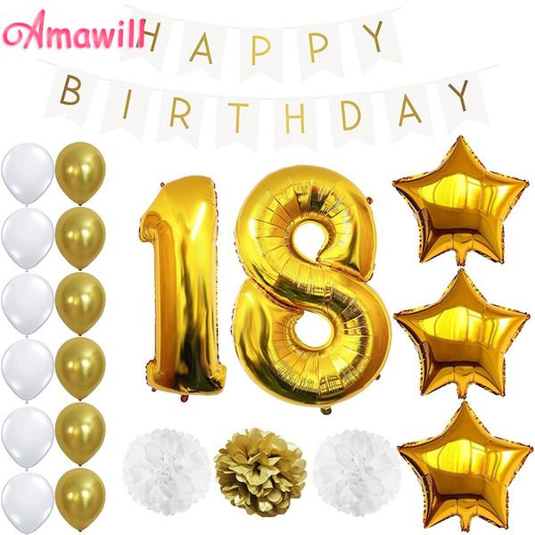 Acheter Amawill 18 Ans Décorations De Fête D Anniversaire Adulte Pour La Bannière En Papier Or Ballons Pom Pom 18ème Birhtday Accessoires 65d De