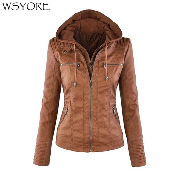 wholesale Plus Size Leather Jacket Women Autumn and Winter Hooded Long-sleeve Slim Jackets Faux Leather Jacket Woman's Coat NS692