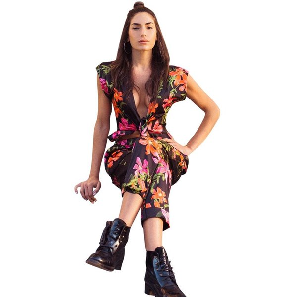 Women Sexy V Neck Suit Set Full Length Casual Flower Print Office Lady Shirt And Pencil Pants Fashion Short Sleeve 2 Piece Sets
