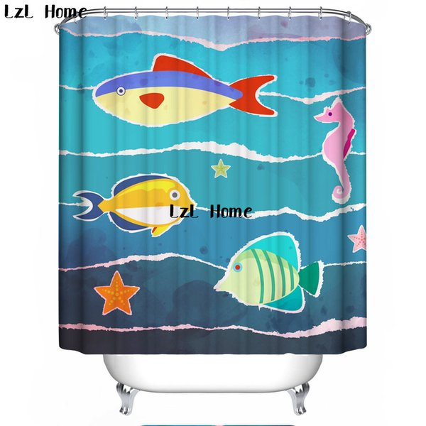 LzL Home Blue Sea And Marine Life Shower Curtain Bathroom Decor Waterproof Blue Ocean Bathroom Curtains High Quality Home Decor
