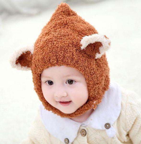 new Lovely fox ear winter windproof hats scarf for kids crochet headgear soft warm hat baby winter beanies Boys Girls