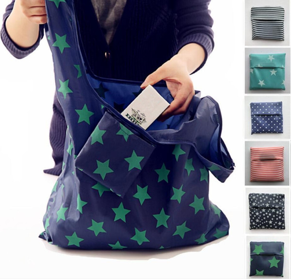 best selling 6styles Foldable Reusable Shopping Bags Eco Storage Grocery bags star stripe Dot printed Shopping Tote Handbag 53*35cm FFA761 120pcs
