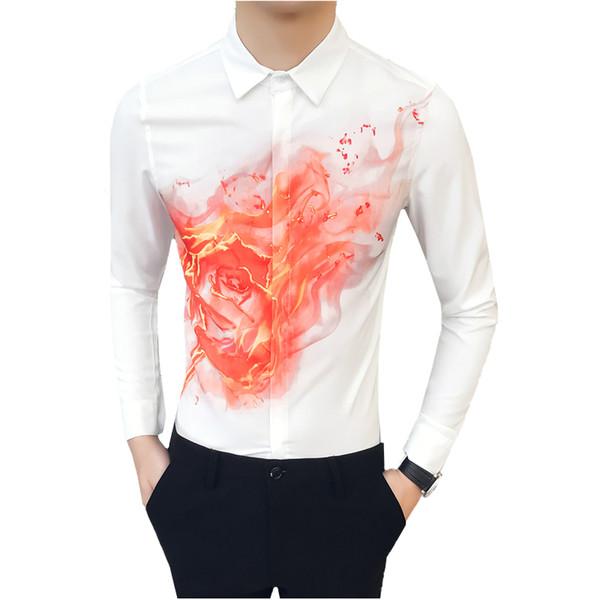 Белый и черный мужчины с длинными рукавами цветок рубашки осень новая мода повседневная рубашка мужской S-3XL