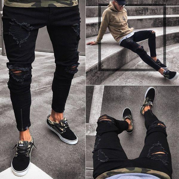 Jeans Men's New Black Hole Elastic Zipper Men's Ankle Pants