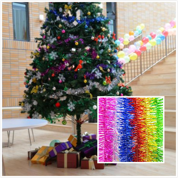 Colorful 2 Meter Christmas Tree Ribbon PVC Festival Birthday Wedding Home Party DIY Xmas Ribbon Garland String Ornaments Hanging DecorationJ