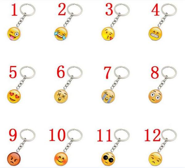 100 pcs À La Mode Smiley Face collier Emoji pendentifs Sourire porte-clés Smiley Visage porte-clés bijoux Happy Pendan Cadeau J083