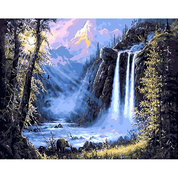 Frameless Waterfall Landscape Diy Painting By Numbers Kits Acrylic Paint Modern Wall Art Picture Hand Painted On Canvas Artwork