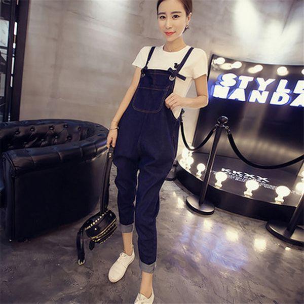 2018 new Blue Women Fashion Denim Jeans Jumpsuit Overalls Loose Strap Jumpsuit Playsuit Rompers Trousers