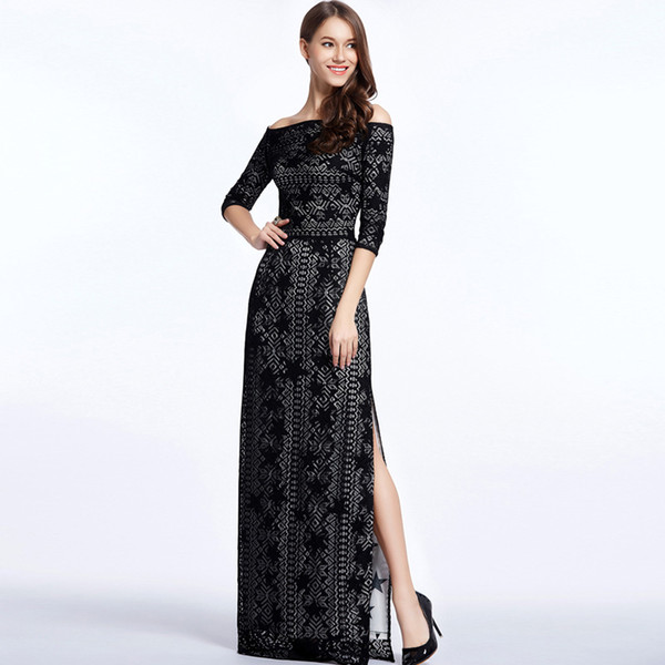 New Arrival Women's Slash Neckline 3/4 Sleeves Embroidery Lace Elegant Party Dresses Fashion Long Maxi Runway Dresses