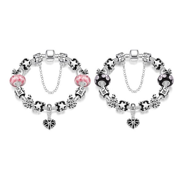 Nouveau design argent coeur pendentif charme bracelet mode DIY bijoux classique de noël cadeau pour femme usine prix