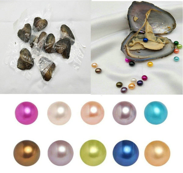 best selling Round Oyster Pearl 6-8mm 2018 new 30 Mix color big Fresh water Gift DIY Natural Pearl Loose beads Decorations Vacuum Packaging Wholesale