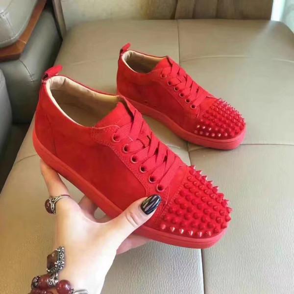 Designer-Schuhe Designer-Turnschuhe Low-Cut-Spikes Wohnungen Schuhe rote Unterseite für Männer und Frauen Turnschuhe aus Leder Partei Designer Schuhe n0505047