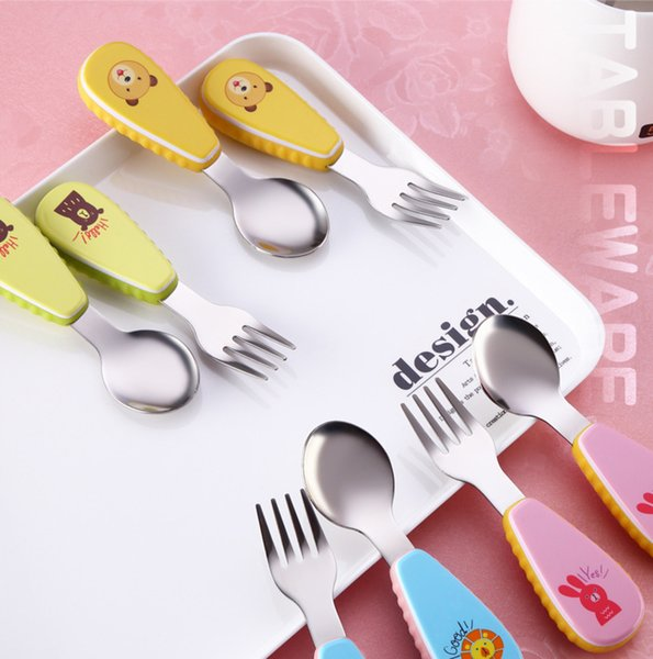 2pcs/set Cute Cartoon Baby Kids Feeding Spoon Fork - High Quality Stainless Steel Baby Spoon Flatware Silicone Anti-skid Handle