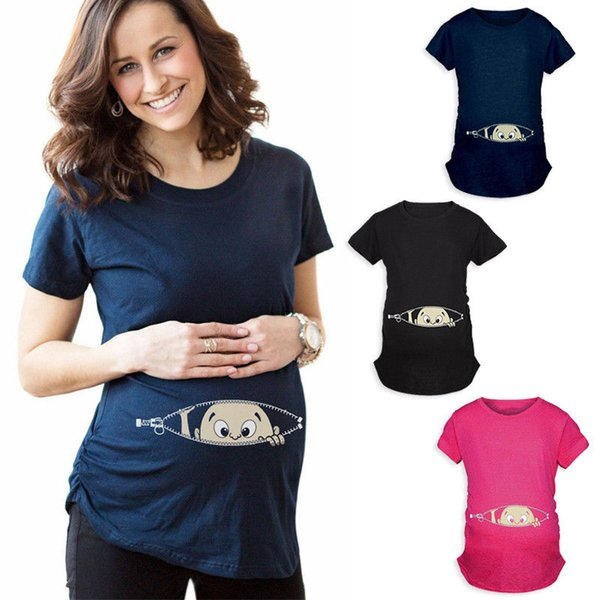 2018 New Summer Plus Size M-2XL Pregnancy Cartoon Tee Baby Print Staring Women Maternity Pregnant Short Sleeve T-shirt Funny Top