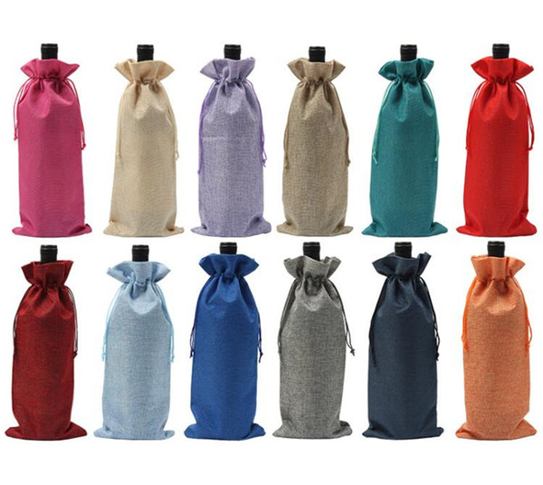 best selling Jute Burlap Wine Bottle Cover Champagne red Wine Drawstring Bags covers Packaging Gift for Party Wedding Favor Pouch Bags 35*15cm