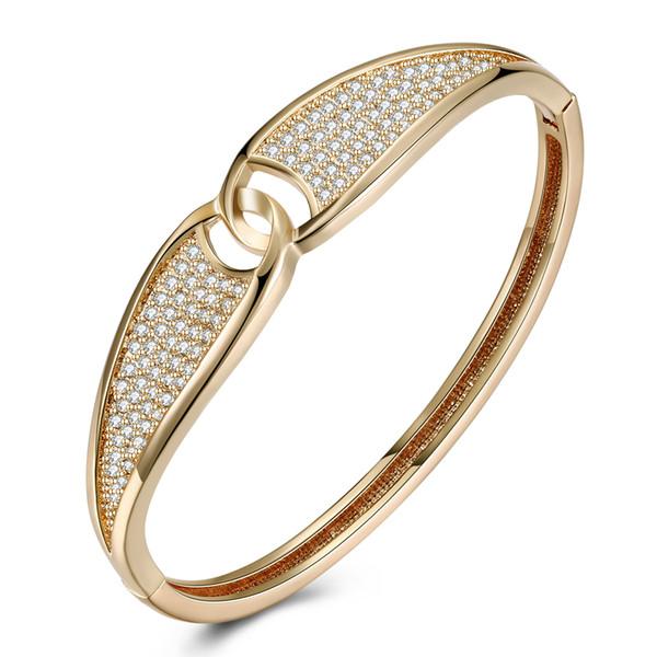 Champagne Couleur Cristal Accents CZ Pavé Bracelet Jonc Amour Conception pour les femmes Mesdames Maman Femme