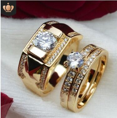 18k golden couple ring zircon ring set good quality lover gifts cheapest christmas gifts jwewlry 182