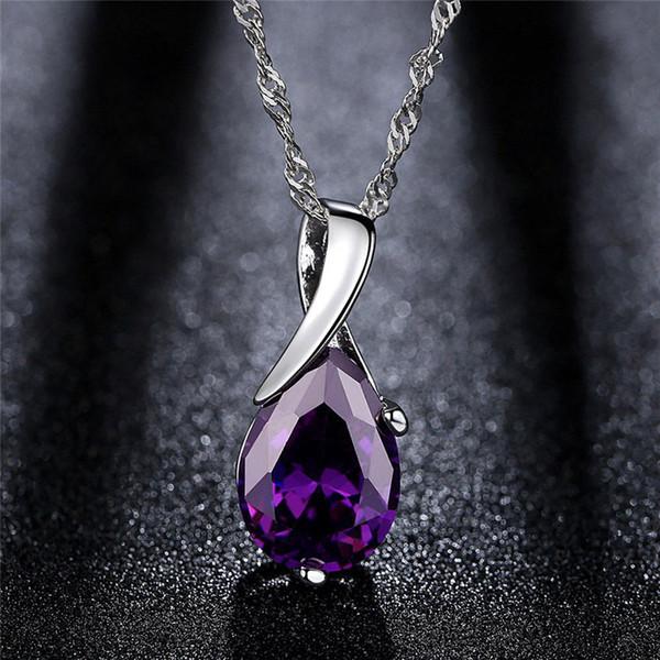 Elegant Ladies Purple Crystal Drop Silver Color Chain Necklaces Pendant For Women Jewelry Statement Colar Bijouterie Necklace