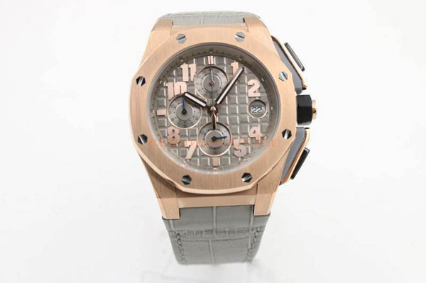 11.11 hot selling luxury brand watch men's royal oak offshore sports quartz chronograph watch gray crocodile leather strap men's dress watch