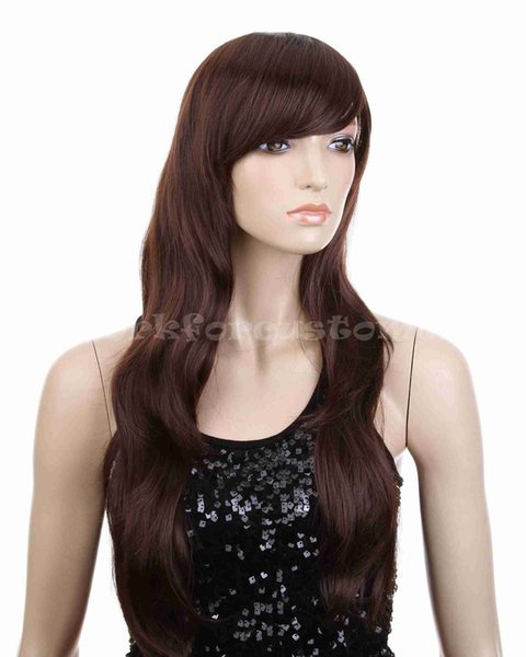Sexy Brown Wig Women's Wavy Long Curly Hair Sexy Full Wigs Cosplay Party